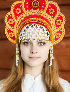 """The """"Kokoshnik"""", is a traditional Russian head-dress worn by women."""