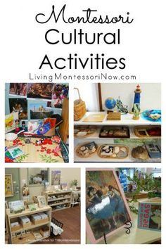 An overview of the Montessori cultural curriculum with geography, history, physical science, botany Montessori Playroom, Montessori Homeschool, Montessori Toddler, Montessori Materials, Montessori Activities, Preschool Curriculum, Preschool Activities, Homeschooling, Multicultural Activities