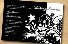 Black and White Invite - Check out the feathered detail! Very suitable!
