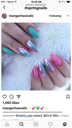 Pink Chrome Nails by MargaritasNailz from Nail Art Gallery Nails Yellow, Pink Nails, Pink Chrome Nails, Metallic Nails, Nude Nails, Glitter Nails, Glittery Acrylic Nails, Mint Green Nails, Chrome Nail Art