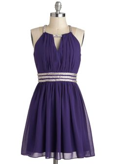 I would probably kill for this dress!  Royal Purple Dreams Dress - Purple, Silver, Beads, Sleeveless, Short, Cutout, Formal, A-line,
