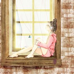 Inner peace_ Listen to music Cartoon Kunst, Cartoon Art, Art And Illustration, Anime Art Girl, Cute Wallpapers, Cute Art, Art Drawings, Images, Illustrator