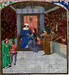 Edward IV on his throne, wearing the order of the Golden Fleece, receiving the book from Jean Waurin. Richard III is second from the left. This image is from Royal 15 EIV, fo.14 in British library. Copyright free.  TitleAnciennes et nouvelles chroniques d'Angleterre, volume 1  OriginNetherlands, S. (Bruges)  Dateafter 1471, before 1483, Note the background detail of the court.