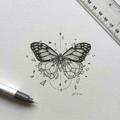 Pin by alyssa fangirl on art tattoo drawings, tattoos, drawi Geometric Tattoo Butterfly, Butterfly Sketch, Butterfly Tattoo Meaning, Butterfly Tattoo On Shoulder, Butterfly Tattoos For Women, Geometric Tattoo Design, Butterfly Tattoo Designs, Geometric Art, Geometric Tattoos