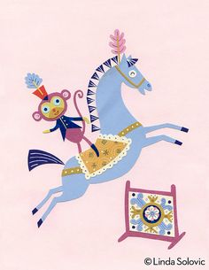 Horse Circus Star Print 8.5 x 11 by Linda Solovic on Etsy