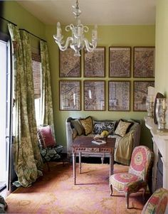 New Orleans French Quarter home. I LOVE these colors!!! I'm also rather mad for maps....this homeowner has divided a New Orleans map into 8 quadrants and framed it...GREAT idea!