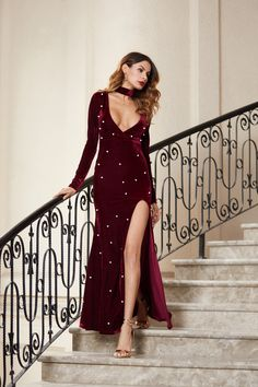 e93b30274c4 SHEIN High Slit Plunging Velvet A Line Dress With Neck Tie Burgundy Deep V  Neck Sexy Club Dresses Elegant Maxi Dress-in Dresses from Women s Clothing  ...