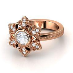 rose gold snowflake ring <3