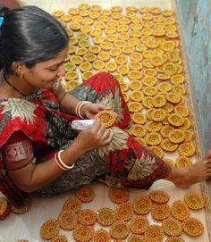 Diyas being painted