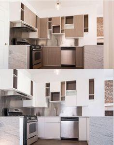 moderne Küche mit versetzten regalen und Fächern in zwei Ausführungen