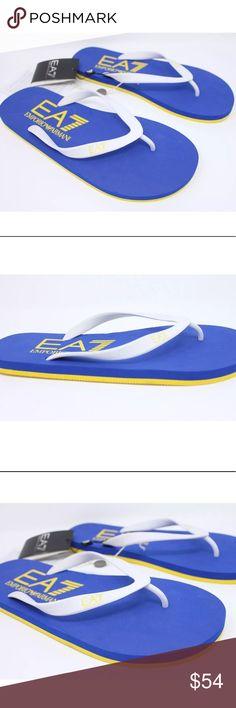 62dcaf9ec EMPORIO ARMANI EA7 Flip Flops Blue Yellow Sz 11 EMPORIO ARMANI Mens EA7 7  Colors Flip
