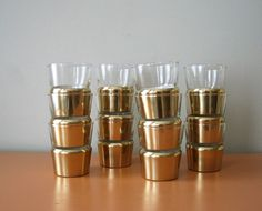 Vintage Libbey Glasses with Brass Tone Holders