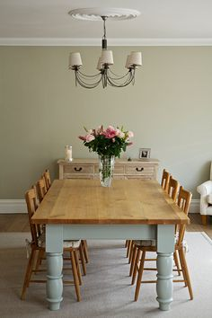Dining Room walls in Clunch No.2009, ceiling in All White No.2005 and woodwork in Wimborne White No.239 by Farrow & Ball