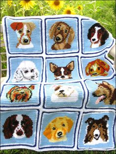 """Cuddly Canines Afghan & Matching Pillows -A dozen adorable puppy faces adorn a beautiful 36""""-wide by 52""""-long afghan."""
