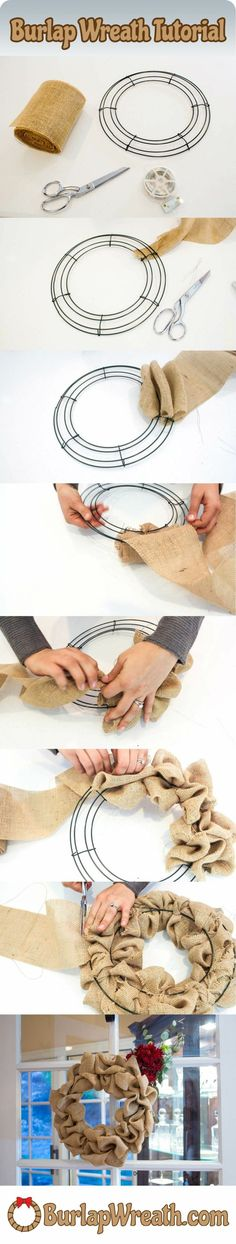 """How to make a burlap wreath: Check out this easy to use tutorial showing you how to make a burlap wreath in less than 10 minutes. All you need is a wreath frame, feet of burlap ribbon and some wire. DIY burlap wreaths make a great craft project. Burlap Projects, Burlap Crafts, Wreath Crafts, Diy Wreath, Craft Projects, Wreath Ideas, Wreath Making, Craft Ideas, Tulle Wreath"