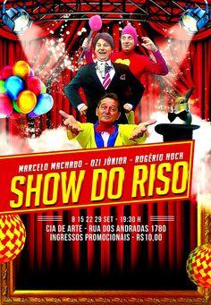 """O #ShowdoRiso é um espetáculo de #humor, que apresenta o programa """"Topa Tudo por Diversão"""", alusão ao programa Topa Tudo por Dinheiro. Traz em seu elenco irreverentes e divertidos personagens que, através de uma mistura de stand up, mágica e #teatro, disputam entre si para ver qual o mais engraçado. A peça estará em cartaz na Cia de Arte, em #PortoAlegre (Andradas, 1780), em 4 apresentações no mês de setembro, dias 8, 15, 22 e 29, sempre às terças-feiras, às 19h30min. Trazendo em…"""