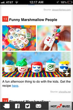 Decorating marshmallows with food coloring would be a fun rainy day activity for kids when they get bored.