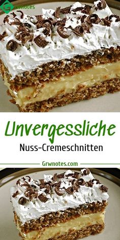 Unvergessliche Nuss-Cremeschnitten Ingredients For the dough: 80 g of sugar 100 g of nuts, ground 100 g of butter biscuits or spoonfuls of biscuits, crumble 5 egg whites 2 egg yolks 50 ml of oil Easy Cake Recipes, Baking Recipes, Cookie Recipes, Gourmet Cakes, Food Cakes, Dominican Cake Recipe, Rockcrok Recipes, Sweet Cakes, Cakes And More