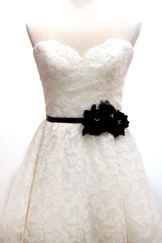 White wedding dress with black lace belt