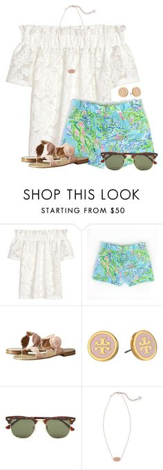 """~girls just wanna have sun~"" by flroasburn on Polyvore featuring H&M, Jack Rogers, Tory Burch, Ray-Ban and Kendra Scott"