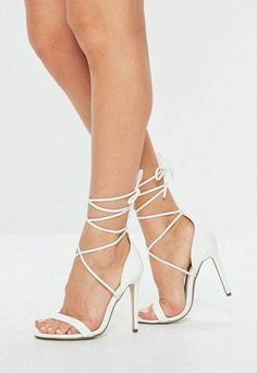 dd10e30ebce0c3 Lace Up Barely There Heeled Sandals White Croc