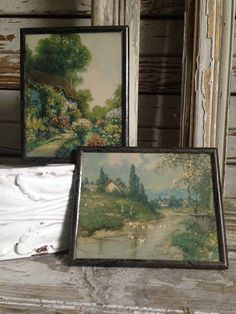 set/two vintage rural lithograph artcountry lifestream with