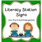 "FREEBIE!  These Literacy Station signs come in two sizes!  One set is approximately 4.25"" x 5.5"" (half page-perfect to post at each station).  The smaller se..."