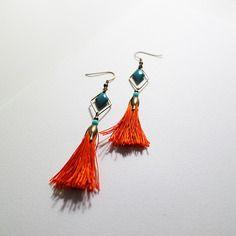 Boucles d'oreilles ethniques - collection instant métis - couleur bronze, orange et bleu canard