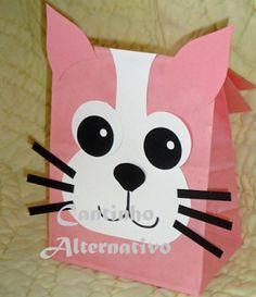 Sacola de Guloseimas Para o Dia das Crianças - Gato e Gata