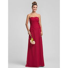 Sheath/Column Sweetheart Floor-length Flower(s) Chiffon Bridesmaid Dress – USD $ 67.99