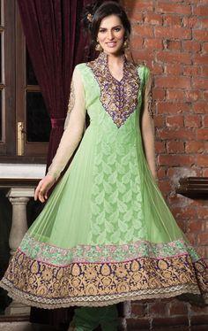 Picture of Fascinating Mint Green Anarkali Salwar Kameez