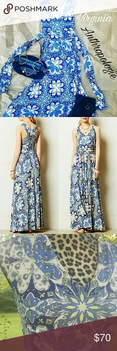 ANTHROPOLOGIE Vanessa Virginia CAPUCHINA dress ANTHROPOLOGIE Vanessa Virginia CAPUCHINA maxi dress in blue floral. Size small. Absolutely gorgeous! Super soft, knit material. Attached sash can be tied front or back. Anthropologie Dresses Maxi