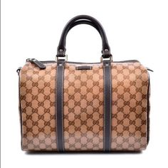 a31e2acf5d42 Gucci Ebony Beige Brown Crystal Leather Boston Bag GUCCI ebony brown  crystal leather GG speedy bag
