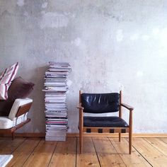 concrete wall, great chair