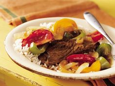 Slow Cooker Pepper Steak Recipe from Betty Crocker