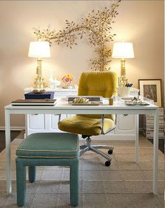 I'm in the middle of creating an office/studio and I love the idea of simplicity with splashes of color
