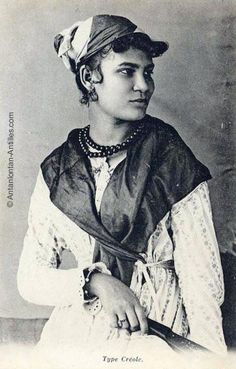 "haitianhistory:  Original caption: ""Une jeune haïtienne en costume créole 1906."" (A young Haitian woman in Creole costume 1906.) (Source)"