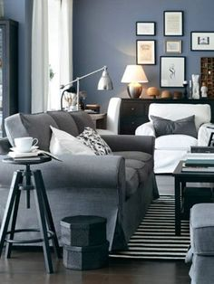 Denim blue and grey living room | Grey living rooms, Living rooms ...