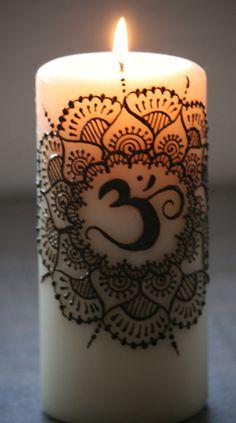 Henna Lotus Flower Candle White pillar candle por RedwoodHenna