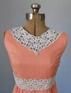 Linen Dress Lace Trim Collar Peach Vintage Women's by MDMvintage, $48.00