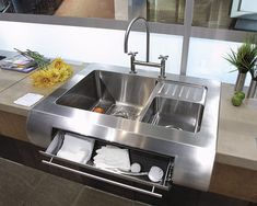 Stainless Main Sink with drawer A Gallery of Kitchen Sinks - Fine Homebuilding Article