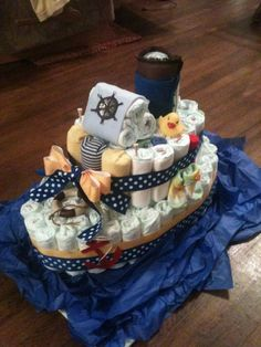"My first diaper ""boat"" cake. A fun break from traditional diaper… Baby Shower Cakes, Idee Baby Shower, Shower Bebe, Baby Shower Diapers, Baby Boy Shower, Baby Shower Themes, Baby Shower Gifts, Baby Gifts, Baby Showers"
