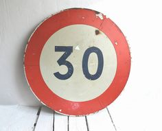 Large Round Vintage French Toleware Traffic Road Sign Highway Street Sign Metal…