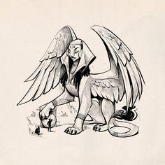 Mythological Creatures, Fantasy Creatures, Mythical Creatures, Dark Art Illustrations, Children's Book Illustration, Sphinx Mythology, Sphinx Tattoo, Ancient Egyptian Art, Creature Design