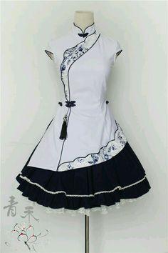 Black and White Cheongsam Lolita Dress