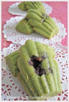 Matcha Madeleines with Azuki Bean Green Tea Recipes, Sweet Recipes, Baby Biscuit Recipe, Just Desserts, Dessert Recipes, Madeleine Recipe, Donuts, Yogurt, Strawberry Jam Recipe