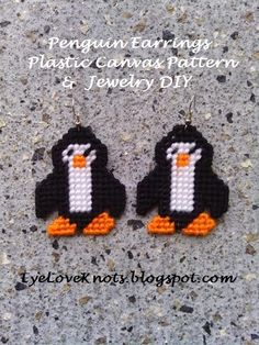 EyeLoveKnots: Penguin Earrings - Free Plastic Canvas Pattern & Jewelry DIY