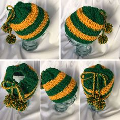 Messy Bun & Ponytail Hats - Packer Fans Crocheted Messy Bun Hat  ~ Green and Gold ~ Custom Sizes and Colors ~ Ponytail Beanie by dcoycrochetsforyou on Etsy