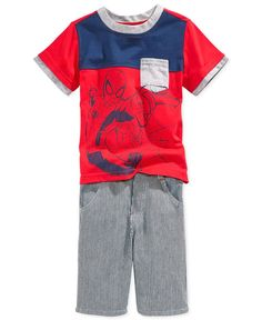 Nannette Little Boys' 2-Piece Spider-Man Tee & Striped Shorts Set