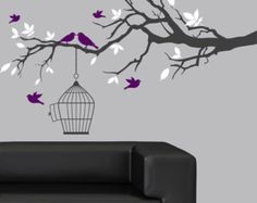 Childrens wall decal blowing cherry tree decal by couturedecals